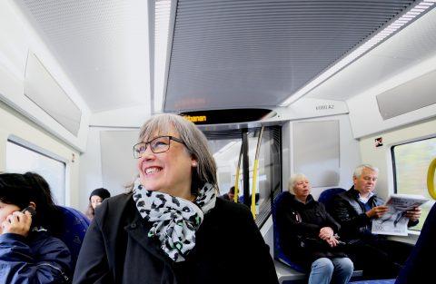 På tåget i Stockholm